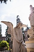 A stone angel standing guard at the Cimitero Monumentale, Milan