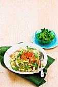 Creamy salmon and rocket tagliatelle
