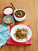 Lamb rogan josh with coconut sambal