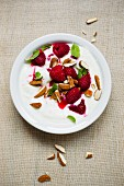Yogurt with raspberries and almonds