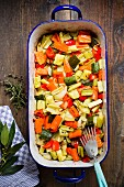 Oven-roasted vegetables in a roasting dish