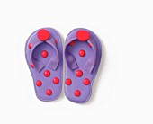 A brightly coloured pair of flip flops