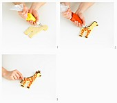 A giraffe biscuit being made