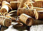 Wine corks on an old wooden table