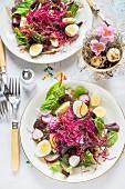Blattsalat mit Wachteleiern & Sprossen