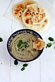Baba ganoush with unleavened bread
