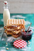 Waffles, milk and jam