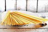 Raw spaghetti on a plate