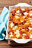 Pasta bake with tomates and buffalo mozzarella