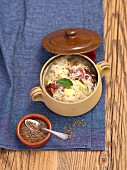 Sauerkraut soup with smoked ribs and potatoes