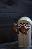 Chocolate cake mixture on a mixer