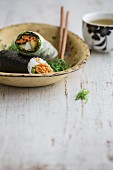 Rice paper rolls and maki sushi (Japan)