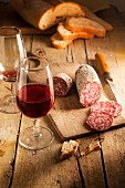 Salami, bread and red wine