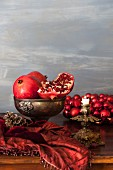 Pomegranates on a Christmas table
