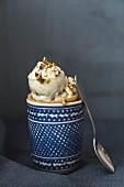 Pistachio ice cream in a cone