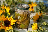 A glass of gherkins surrounded by sunflowers and wreaths of hops