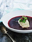 Beetroot soup with fish fillet