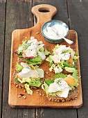Wholemeal bread with lettuce, smoked halibut and horseradish sauce