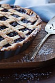 Freshly baked mulberry pie with a lattice crust