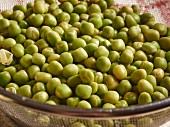 Soaked marrowfat peas in a sieve