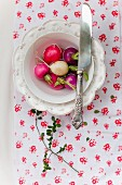 Fresh radishes in a bowl of water