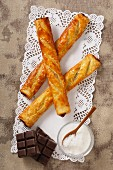Puff pastry stick with a chocolate filling