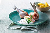 Soused herring with apple and radish sour cream