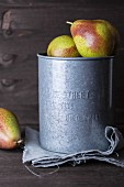 Pears in a zinc bucket