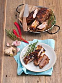 Glazed grilled pork ribs with honey, ginger and soy sauce