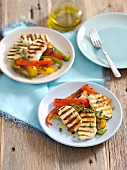 Grilled halloumi cheese with peppers