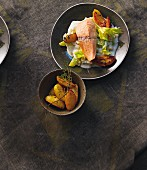 Salmon confit with roast potatoes