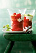 Strawberry and tomato compote with yogurt and mint pesto