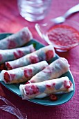 Rice paper rolls filled with fresh berries