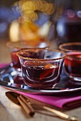 Mulled wine in glasses with a cinnamon-sugar rim