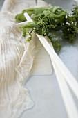 Yuba - Haut von Sojadrink (Spezialität aus Kyoto, Japan) mit Algen