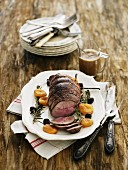 Roast venison with dried apricots