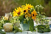 Bouquet of sunflowers, hops and tansy