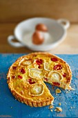 A goat's cheese and tomato tart