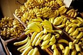 Frische Bananen in Kartons auf einem Markt