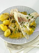 Ray wings with caper sauce and salted potatoes