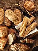 Various types of white bread and baguettes