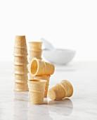 Stacks of empty ice cream cones