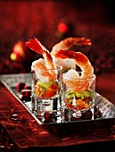 Shrimp cocktails on a silver tray (Christmas)