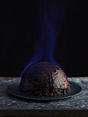 Flambéed Christmas pudding