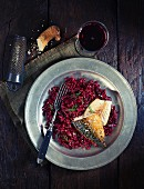 Mackerel with beetroot risotto