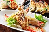 Grilled shrimp dumplings