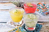Three different fruity margaritas (Mexico)
