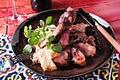 Grilled ribs with a honey sauce