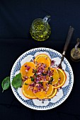 Orange salad with red onions, basil and olive oil