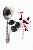 Blackberries with a spoon